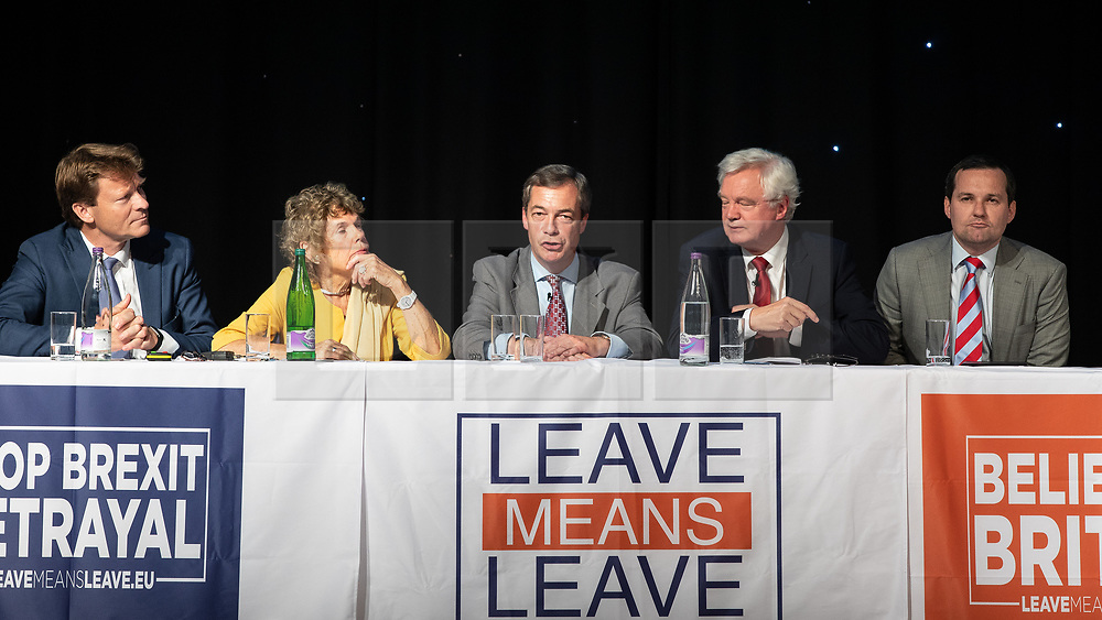 """© Licensed to London News Pictures . 22/09/2018. Bolton, UK. RICHARD TICE , KATE HOEY , NIGEL FARAGE , DAVID DAVIS and CHRIS GREEN . Pro Brexit campaign group Leave Means Leave host a """" Save Brexit """" and """" Chuck Chequers """" rally at the University of Bolton Stadium , attended by leave-supporting politicians from a cross section of parties , including Conservative David Davis , former UKIP leader Nigel Farage and Labour's Kate Hoey . Photo credit: Joel Goodman/LNP"""