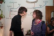 FARIS BADWAN; DEREK MARTIN, Faris Badwan: ( Lead singer of The Horrors also an artist/ illustrator) Drawing A Straight Number Nine - private view. The Book Club, 100-106 Leonard Street, London EC2, 11 August 2010. <br /> <br /> -DO NOT ARCHIVE-© Copyright Photograph by Dafydd Jones. 248 Clapham Rd. London SW9 0PZ. Tel 0207 820 0771. www.dafjones.com.