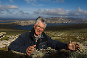 Robbin Woods. Naturalist and author of several Falklands field guides.<br /> West Point Island. Off of West Falkland. FALKLAND ISLANDS.
