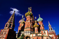 St. Basil's Cathedral (Savior Tower at the Kremlin, on right), Red Square, Moscow, Russia