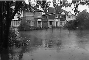 """Flooding at the Dodder..1986..26.08.1986..08.26.1986..28th August 1986..As a result of Hurricane Charly (Charlie) heavy overnight rainfall was the cause of severe flooding in the Donnybrook/Ballsbridge areas of Dublin. In a period of just 12 hours it was stated that 8 inches of rain had fallen. The Dodder,long regarded as a """"Flashy"""" river, burst its banks and caused great hardship to families in the 300 or so homes which were flooded. Council workers and the Fire Brigades did their best to try and alleviate some of the problems by removing debris and pumping out some of the homes affected..Note: """"Flashy"""" is a term given to a river which is prone to flooding as a result of heavy or sustained rainfall...Image shows some of the devastation caused by the rising water..These houses were sited on the Lr. Dodder Road, Rathfarnham."""
