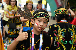 JAKARTA, Aug. 18, 2018  A young performer poses for pictures before the opening ceremony of the 18th Asian Games in Jakarta, Indonesia, Aug. 18, 2018. The opening ceremony of the 18th Asian Games will be held here on the evening of Aug. 18. (Credit Image: © Huang Zongzhi/Xinhua via ZUMA Wire)