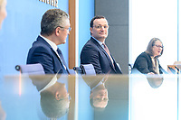 12 FEB 2021, BERLIN/GERMANY:<br /> Prof. Dr. Lothar H. Wieler (L), Präsident Robert Koch-Institut (RKI), Jens Spahn (R), CDU, Bundesgesundheitsminister, Pressekonferenz zur Corona-Lage im Lockdown, Bundespressekonferenz<br /> IMAGE: 20210212-01-025<br /> KEYWORDS: Corvid-19