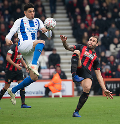 Brighton & Hove Albion's Leon Balogun battles with AFC Bournemouth's Steve Cook
