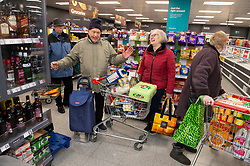 ©Licensed to London News Pictures 18/03/2020<br /> Petts Wood, UK.A happy shopper. Elderly shoppers this morning at the Iceland store in Petts Wood, Greater London. Iceland stores in the UK have allocated the first two hours of a trading day to the over sixty fives and the vulnerable because of the impact of Coronavirus on food supplies. Photo credit: Grant Falvey/LNP