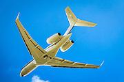Bombardier Global Express jet departs Kalamazoo Airport in Kalamazoo, Michigan.