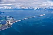 Alaska. Aerial of Kachemak Bay and Homer Spit.