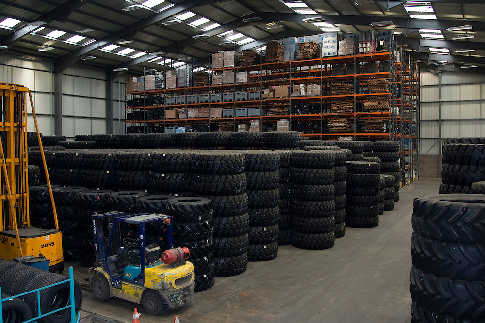 Storage area of stacks of  large tyres.