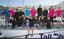 Simon Le Bon (centre front) on a 72 foot Challenger yacht in Portsmouth where he announced his partnership with the Tall Ships Youth Trust.
