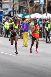 Boston Marathon: winner Caroline Rotich, Kenya, battles Mare Dibaba, Ethiopia in final stretch, prevails by 4 seconds winner Caroline Rotich, Kenya, battles Ethiopians Dibaba and Deba with half mile to go