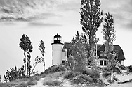The Historic Point Betsie Lighthouse Just After Sunrise Along Lake Michigan And Just to The South Of The Sleeping Bear Dunes, Michigan's Lower Peninsula, USA