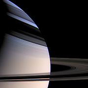 Saturn embraced by the shadows of its stately rings. Cassini.