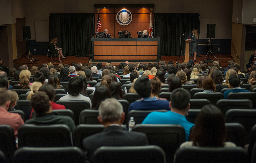 United States Circuit Judge of the United States Court of Appeals for the Ninth Circuit William Fletcher, associate justice of the Supreme Court of the United States Sonia Sotomayor and Senior United States Circuit Judge of the United States Court of Appeals for the Sixth Circuit Martha Daughtrey listen as UCI Law school students make their presentations in the UC Irvine School of Law's fourth annual Experian/Jones Day Moot Court Competition.