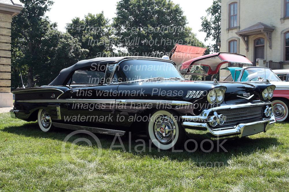 7 August 2010: 1958 Chevrolet Impala convertible Antique Car show, David Davis Mansion, Bloomington Illinois