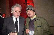 hugh Hudson and Nicky Haslam, Almeida Gala evening, Victoria Miro Gallery, 13 May  2003. © Copyright Photograph by Dafydd Jones 66 Stockwell Park Rd. London SW9 0DA Tel 020 7733 0108 www.dafjones.com