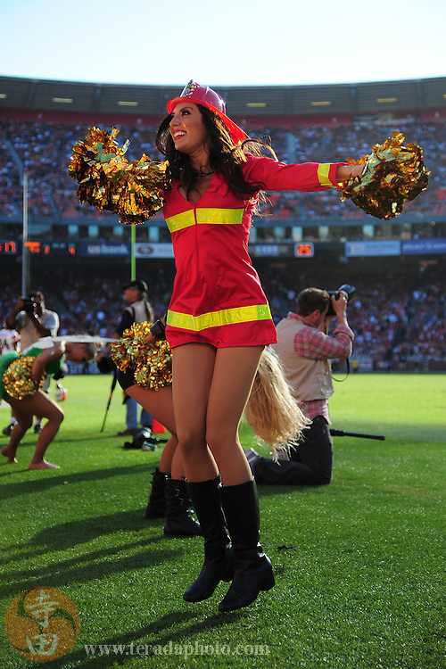 October 30, 2011; San Francisco, CA, USA; San Francisco 49ers Gold Rush cheerleader Rachel M. performs in a halloween costume during the fourth quarter against the Cleveland Browns at Candlestick Park. The 49ers defeated the Browns 20-10.