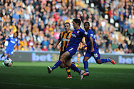 Cardiff city's Peter Whittingham (7)shoots from close range to score his sides equalising goal to make it 1-1. Barclays Premier league match, Hull city v Cardiff city at the KC Stadium in Hull on Sat 14th Sept 2013. pic by Andrew Orchard, Andrew Orchard sports photography,