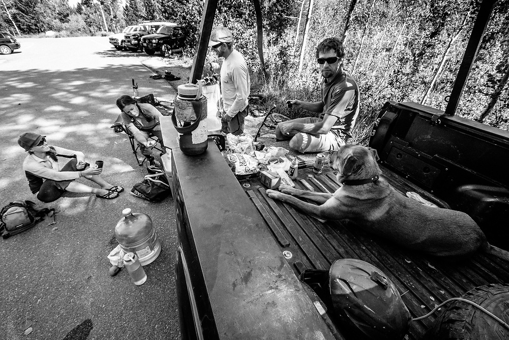 Riders have lunch after riding all morning off of Teton Pass in Wilson, Wyoming.