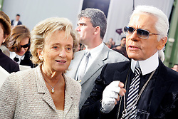 Madame Bernadette Chirac and German fashion deisgner Karl Lagerfeld pose backstage after the Chanel Ready-to-Wear Spring-Summer 2006 fashion show at 'Le Grand Palais', in Paris, France, on October 7, 2005. Photo by ABACAPRESS.COM