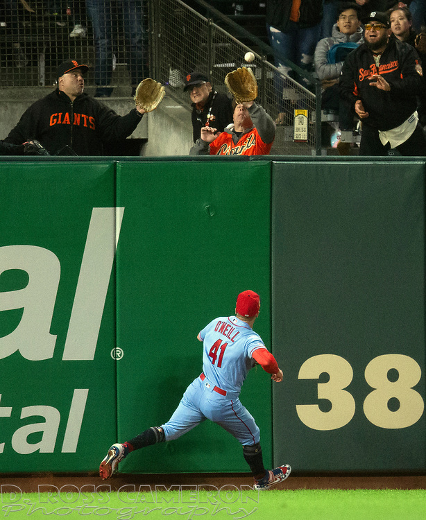 Jul 6, 2019; San Francisco, CA, USA; St. Louis Cardinals left fielder Tyler O'Neill (41) runs out of room as he watches a two-run home run by San Francisco Giants Pablo Sandoval leave the yard during the seventh inning of a baseball game at Oracle Park. Mandatory Credit: D. Ross Cameron-USA TODAY Sports