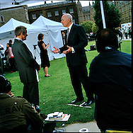 UK. London. The Village Green: From Blair to Brexit.<br /> A story on the relationship between the Media, Politicians and the public as they come together on College Green, a small patch of land next to The Houses of Parliament in Westminster. <br /> Photo shows former Conservative Party Leader Iain Duncan Smith the day Gordon Brown took over as British Prime Minister.<br /> Photo©Steve Forrest/Workers' Photos