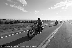 Thomas Trapp, the Harley-Davidson dealer from Frankfurt, Germany riding his 1916 Harley-Davidson F during Stage 9 (249 miles) of the Motorcycle Cannonball Cross-Country Endurance Run, which on this day ran from Burlington to Golden, CO., USA. Sunday, September 14, 2014.  Photography ©2014 Michael Lichter.