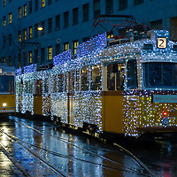 Tram decorated with christmas lights by Budapest Public Transport company in central Budapest, Hungary on December 08, 2014. ATTILA VOLGYI