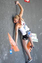 26.06.2021, Kletterzentrum, Innsbruck, AUT, IFSC, Austria Climbing Open 2021, Damen, Boulder, Halbfinale, im Bild Janja Garnbret (SLO) // Janja Garnbret of Slovenia during the semifinal of women Boulder competition of the Austria Climbing Open 2021 at the Kletterzentrum in Innsbruck, Austria on 2021/06/26. EXPA Pictures © 2021, PhotoCredit: EXPA/ Erich Spiess