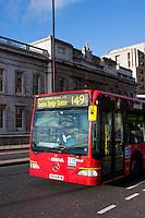 london bus on londo bridge, england