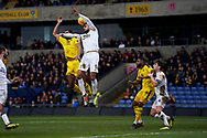 Ryan Tafazolli of Peterborough United defends the ball during the EFL Sky Bet League 1 match between Oxford United and Peterborough United at the Kassam Stadium, Oxford, England on 16 February 2019.
