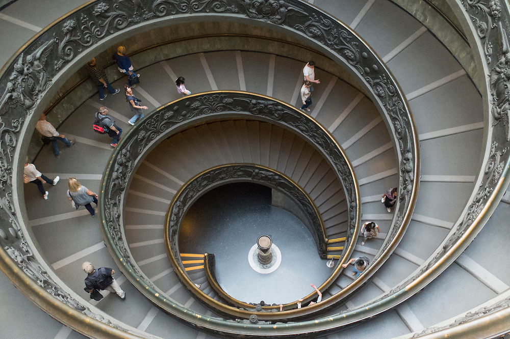 "The ""modern"" spiral, double helix, Bramante Staircase in the Vatican Museum. A wonder of the Vatican designed by Giuseppe Momo in 1932"