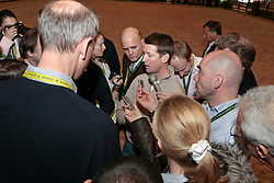 Pressconference concerning disqualification of McLain Ward's horse Sapphire due to a positive Hypersensitivity test after the second competion of the Rolex FEI World Cup Final - Geneve 2010<br /> also in this picture Jan Tops, Michael Withaker<br /> © Dirk Caremans