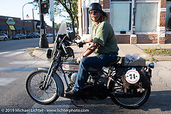 Rowdy Schenck stops along Main Street on his 1928 Harley-Davidson JD on the Motorcycle Cannonball coast to coast vintage run. Stage 6 (260 miles) from Bourbonnais, IL to Cedar Rapids, IA. Thursday September 13, 2018. Photography ©2018 Michael Lichter.