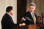 President Clinton and visiting Egyptian President Hosni Mubarak hold a joint news conference March 10, 1997 in the White House East Room.