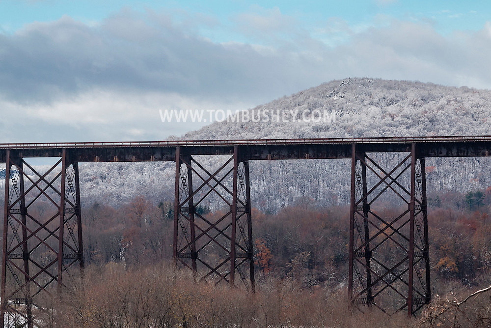 Cornwall, New York - A view of the Moodna Viaduct railroad trestle after a snowstorm on Nov. 20, 2016. The structure is the highest railroad bridge east of the Mississippi River.