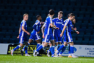 GOAL 1-0 as Gillingham FC defender Jack Tucker (5), Gillingham FC midfielder Kyle Dempsey (8) and Gillingham FC midfielder Scott Robertson (20) celebrate Gillingham FC midfielder Jordan Graham (10) penalty goal during the EFL Sky Bet League 1 match between Gillingham and Crewe Alexandra at the MEMS Priestfield Stadium, Gillingham, England on 26 January 2021.