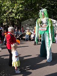 Stilt walker at Big Wheel event at Nottingham Castle.