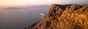 SPAIN, CANARY ISLANDS, LANZAROTE 900' high cliffs plunging into the sea along the rugged northwest coast near Guinate