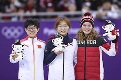 PYEONGCHANG, Feb. 17, 2018  Champion Choi Minjeong of South Korea (C), second-placed Li jinyu of China (L) and third-placed Kim Boutin of Canada pose for photos during venue ceremony of ladies' 1500m final of short track speed skating at 2018 PyeongChang Winter Olympic Games at Gangneung Ice Arena, Gangneung, South Korea, Feb.17, 2018. (Credit Image: © Han Yan/Xinhua via ZUMA Wire)