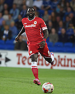 Kenwyne Jones of Cardiff city  in action. Skybet football league championship match, Cardiff city v Middlesbrough at the Cardiff city stadium in Cardiff, South Wales on Tuesday 16th Sept 2014<br /> pic by Andrew Orchard, Andrew Orchard sports photography.