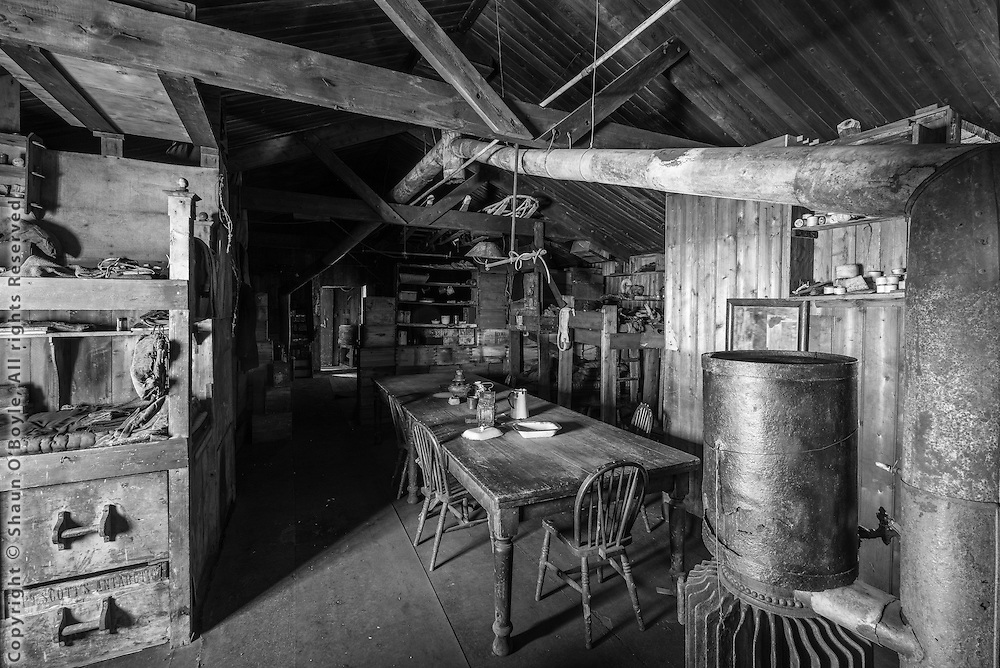 Wardroom table, and stove