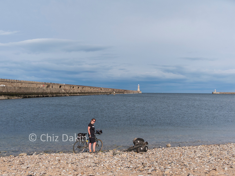 Dipping a wheel in the North Sea as close as possible to the official end of the C2C cycle route