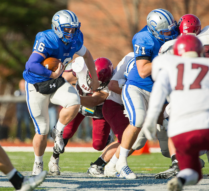 Colby College quarterback Christian Sparacio (16) carries the ball during a NCAA Division III football game between Colby College and Bates College at Seaverns Field at Harold Alfond Stadium on October 24, 2015 in Waterville, Maine. (Dustin Satloff)