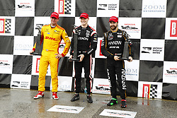 April 23, 2018 - Birmingham, Alabama, United States of America - JOSEF NEWGARDEN (1) of the United States celebrates in victory lane after taking the checkered flag and winning the Honda Grand Prix of Alabama at Barber Motorsports Park in Birmingham, Alabama. RYAN HUNTER-REAY (28) of the United States finishes second and JAMES HINCHCLIFFE (5) of Canada finished in third place. (Credit Image: © Justin R. Noe Asp Inc/ASP via ZUMA Wire)