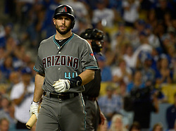 October 6, 2017 - Los Angeles, California, U.S. - Arizona Diamondbacks' Paul Goldschmidt walks back to the dugout after striking out against the Los Angeles Dodgers in the first inning of a National League Divisional Series baseball game at Dodger Stadium on Friday, Oct. 06, 2017 in Los Angeles. (Photo by Keith Birmingham, Pasadena Star-News/SCNG) (Credit Image: © San Gabriel Valley Tribune via ZUMA Wire)