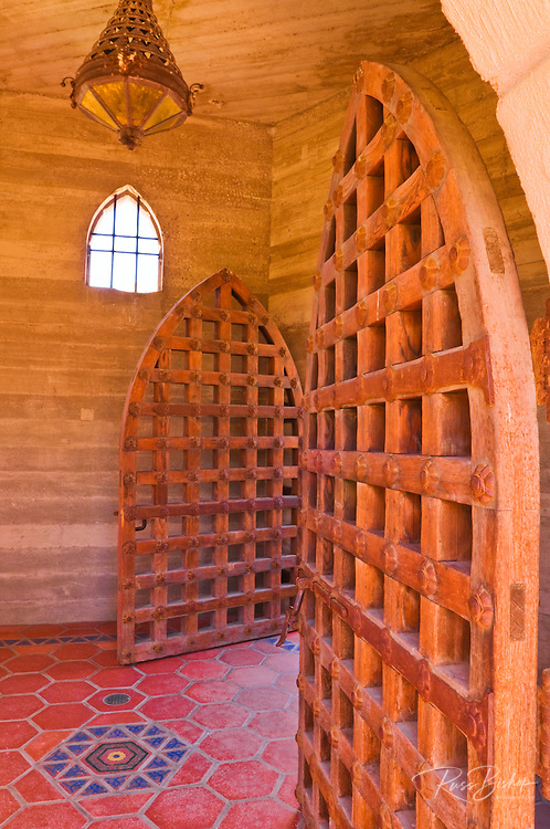 Wooden doors and tile floor at Scottys Castle, Death Valley National Park. California