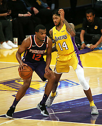 November 17, 2017 - Los Angeles, California, U.S - Lakers Brandon Ingram plays tough defense on Suns T.J.  Warren during the contest as the host Los Angeles Lakers  fall to the visiting Phoenix Suns 122-113 on Friday,  November 17, 2017 at the Staples Center in Los Angeles,  California. (Credit Image: © Prensa Internacional via ZUMA Wire)