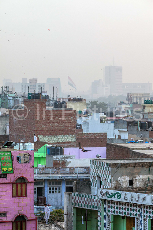 An overview of Delhi from the Jama Masjid, Old Delhi, India.