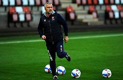 Cheltenham Town assistant manager Russell Milton leads the warm up session- Mandatory by-line: Nizaam Jones/JMP - 20/10/2020 - FOOTBALL - Jonny-Rocks Stadium - Cheltenham, England - Cheltenham Town v Scunthorpe United - Sky Bet League Two