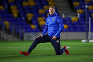 AFC Wimbledon striker Joe Pigott (39) warming up prior to kick off during the EFL Sky Bet League 1 match between AFC Wimbledon and Doncaster Rovers at Plough Lane, London, United Kingdom on 3 November 2020. The first League match at the new stadium.